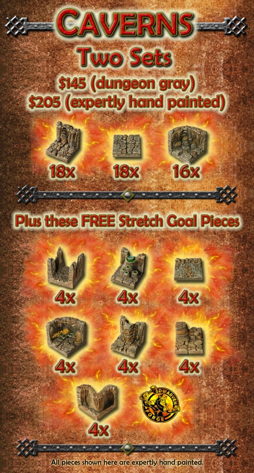 Dwarven Forge Cavern Game Tiles kickstarter Day One