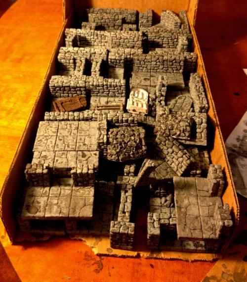 A box of black washed Itar Dungeon Tiles
